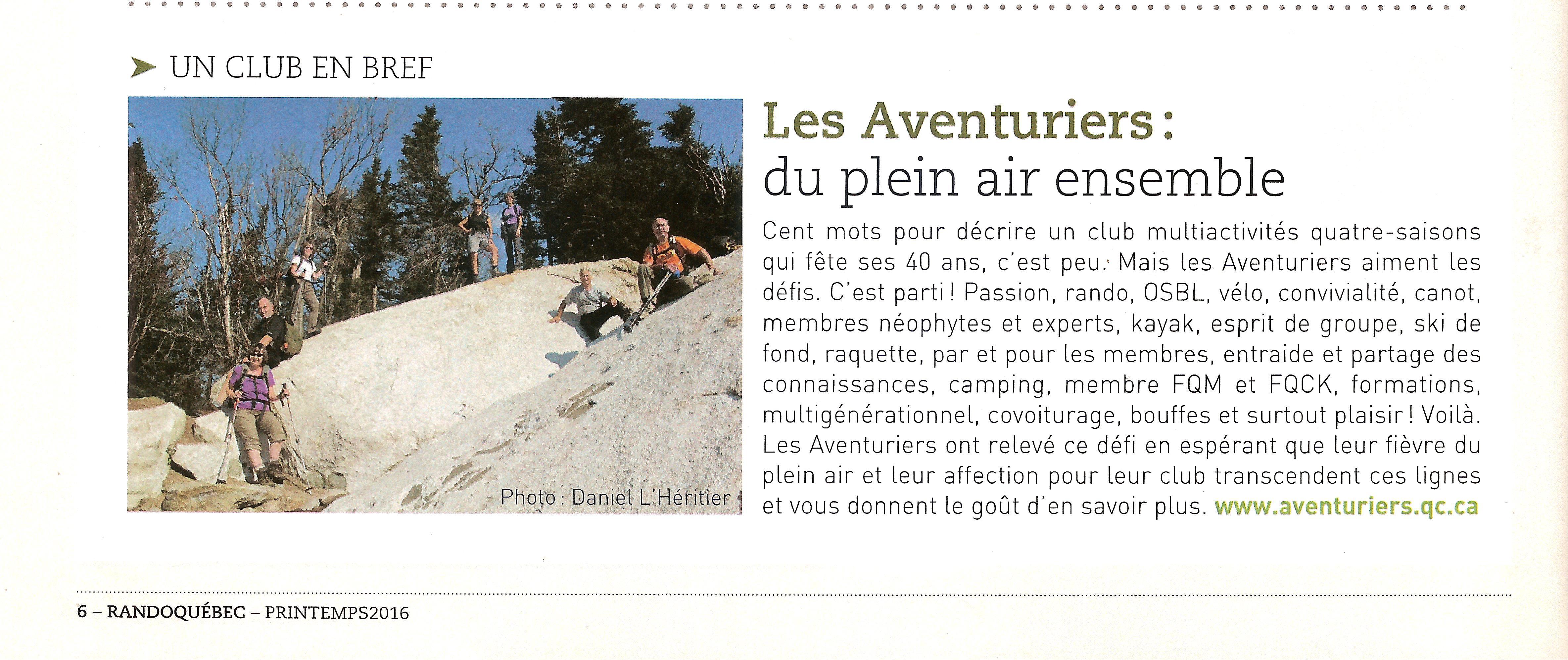 On parle de nous dans la revue Rando Québec!